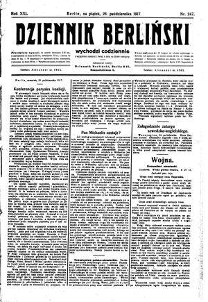 Dziennik Berliński vom 26.10.1917