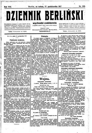 Dziennik Berliński vom 27.10.1917