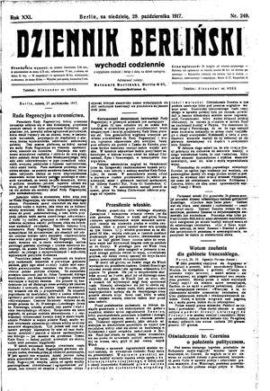 Dziennik Berliński vom 28.10.1917