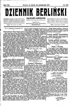 Dziennik Berliński vom 30.10.1917