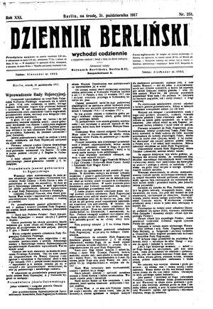 Dziennik Berliński vom 31.10.1917