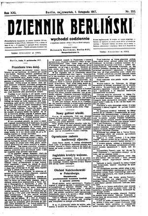 Dziennik Berliński vom 01.11.1917