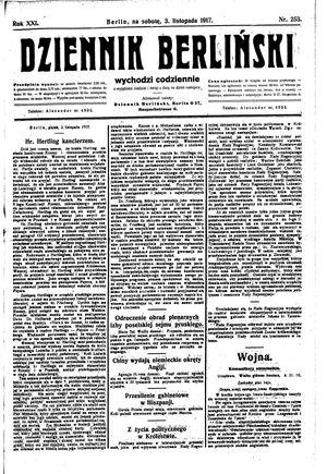 Dziennik Berliński vom 03.11.1917