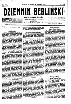 Dziennik Berliński on Nov 6, 1917