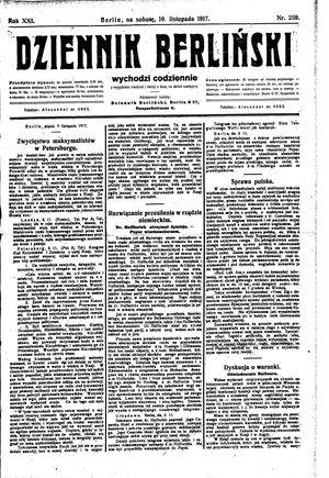 Dziennik Berliński vom 10.11.1917