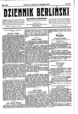 Dziennik Berliński vom 13.11.1917