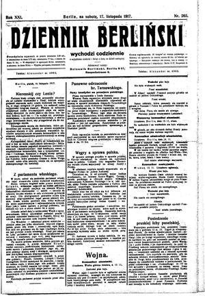 Dziennik Berliński vom 17.11.1917