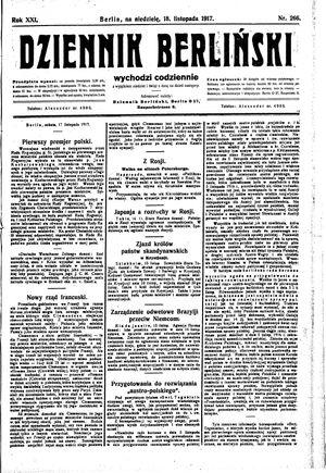 Dziennik Berliński vom 18.11.1917