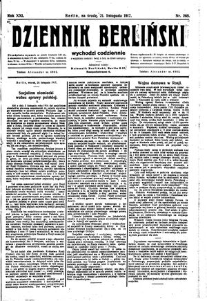 Dziennik Berliński vom 21.11.1917