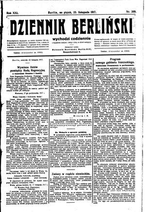 Dziennik Berliński vom 23.11.1917