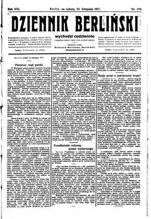 Dziennik Berliński vom 24.11.1917