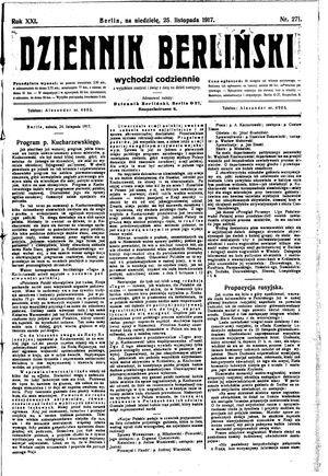 Dziennik Berliński vom 25.11.1917