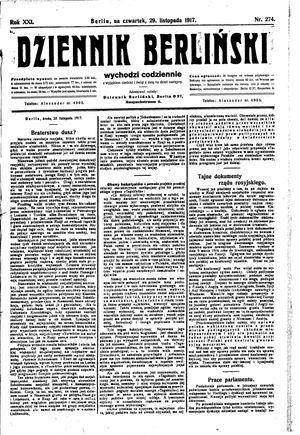 Dziennik Berliński vom 29.11.1917