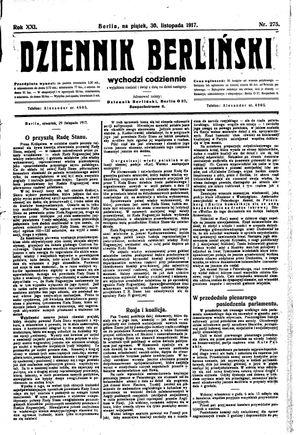 Dziennik Berliński vom 30.11.1917