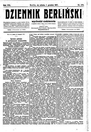 Dziennik Berliński vom 01.12.1917