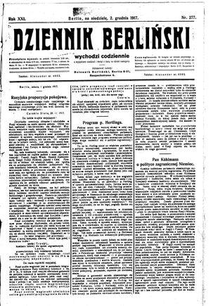 Dziennik Berliński vom 02.12.1917