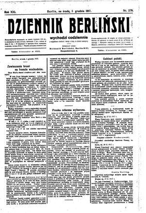Dziennik Berliński vom 05.12.1917