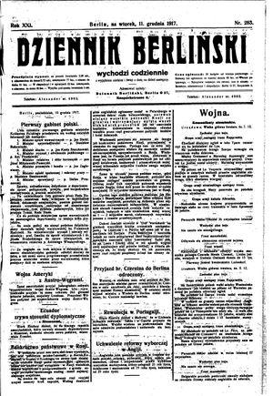 Dziennik Berliński vom 11.12.1917