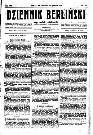 Dziennik Berliński vom 13.12.1917