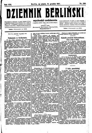 Dziennik Berliński vom 14.12.1917