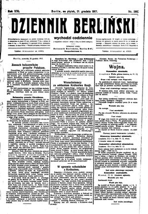 Dziennik Berliński vom 21.12.1917
