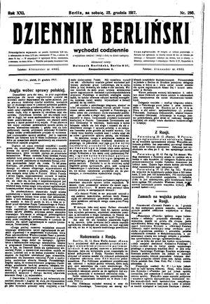 Dziennik Berliński vom 22.12.1917