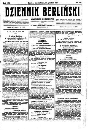 Dziennik Berliński vom 23.12.1917