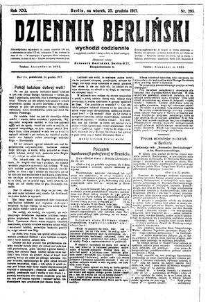 Dziennik Berliński vom 25.12.1917