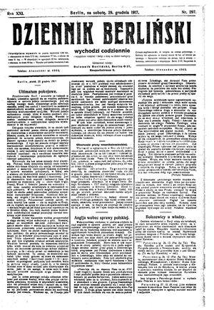 Dziennik Berliński vom 29.12.1917