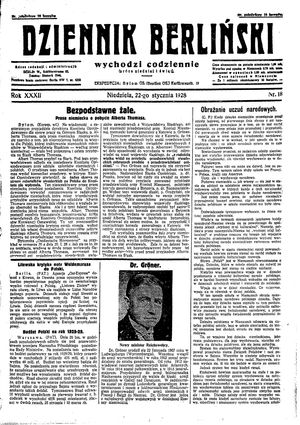 Dziennik Berliński vom 22.01.1928