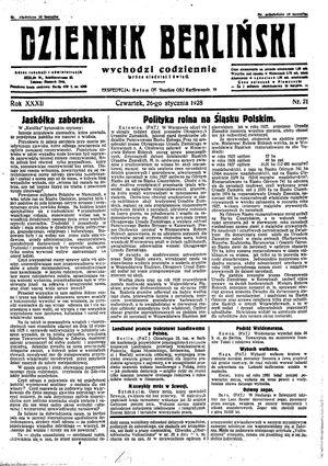 Dziennik Berliński vom 26.01.1928