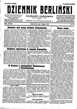 Dziennik Berliński vom 02.02.1928