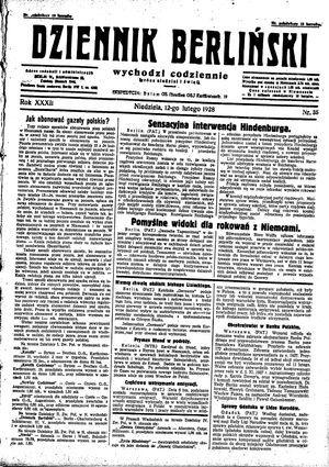 Dziennik Berliński vom 12.02.1928