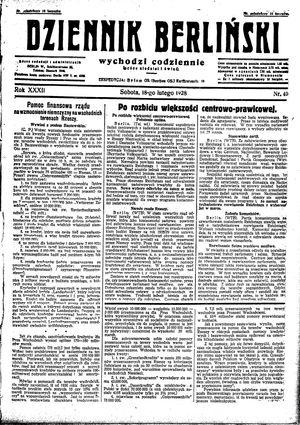 Dziennik Berliński vom 18.02.1928