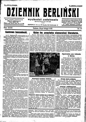 Dziennik Berliński on Feb 25, 1928