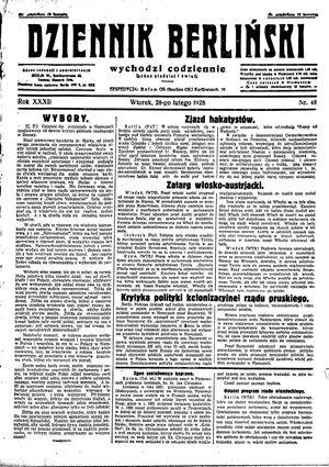 Dziennik Berliński vom 28.02.1928