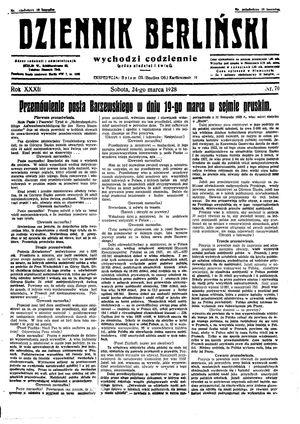 Dziennik Berliński vom 24.03.1928