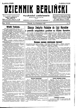 Dziennik Berliński vom 03.04.1928