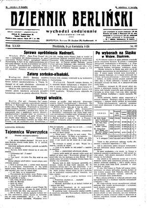 Dziennik Berliński on Apr 8, 1928