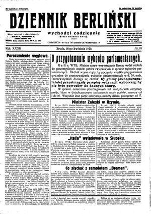 Dziennik Berliński vom 18.04.1928