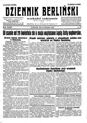 Dziennik Berliński vom 26.04.1928