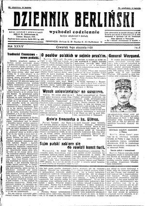 Dziennik Berliński vom 09.01.1930