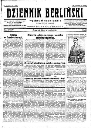 Dziennik Berliński vom 23.01.1930