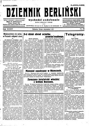 Dziennik Berliński vom 25.01.1930