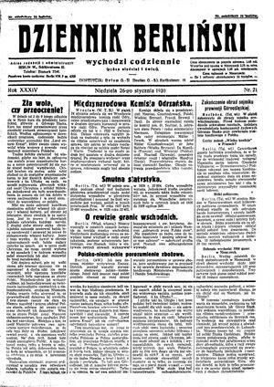 Dziennik Berliński vom 26.01.1930