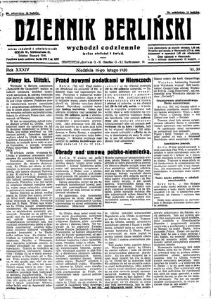 Dziennik Berliński on Feb 16, 1930