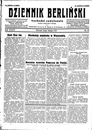 Dziennik Berliński vom 18.02.1930