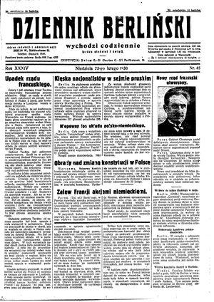 Dziennik Berliński vom 23.02.1930