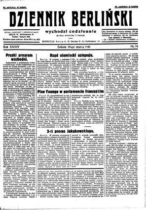 Dziennik Berliński vom 29.03.1930
