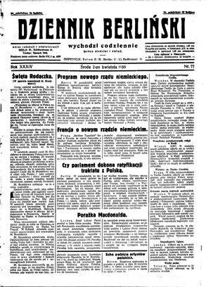 Dziennik Berliński vom 02.04.1930